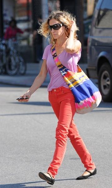 Sarah Jessica Parker in orange jeans