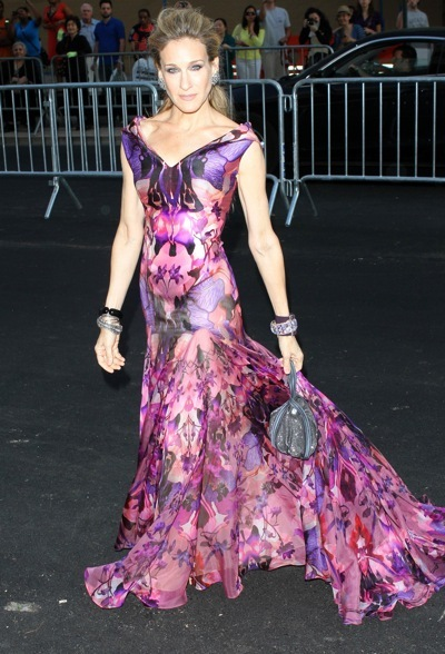 Sarah Jessica Parker in a colorful gown