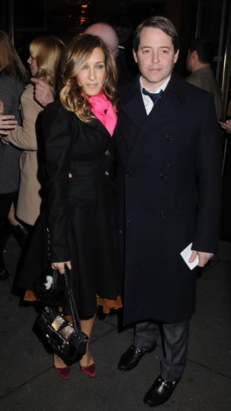 Sarah Jessica Parker and husband Matthew Broderick step out together to see a Broadway play.