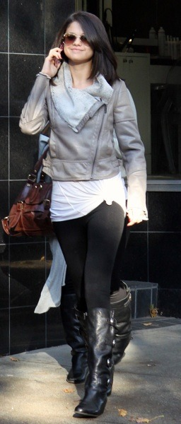 Selena Gomez in crop jacket