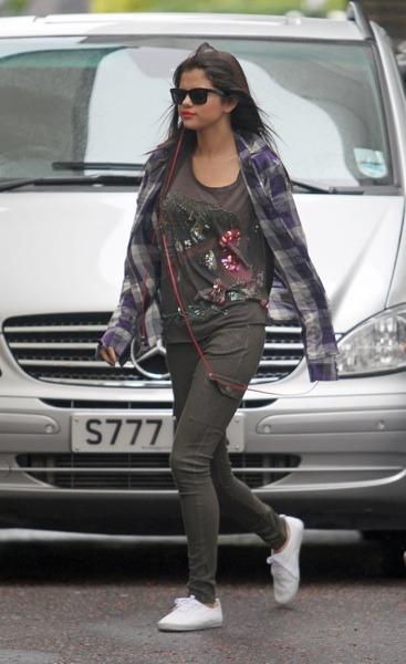 Selena Gomez in plaid