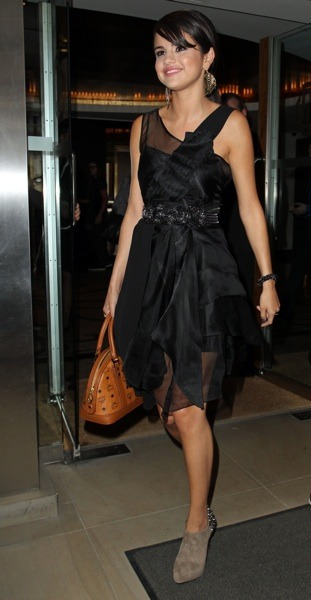 Selena Gomez with sheer LBD
