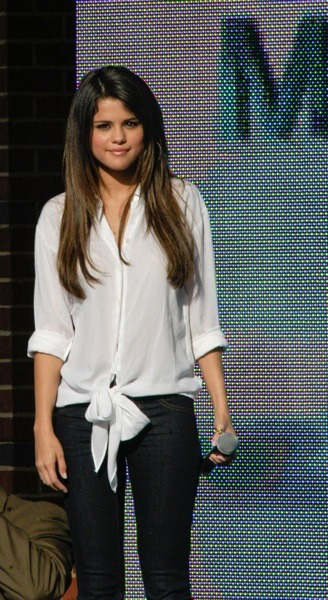 Selena Gomez in a button down