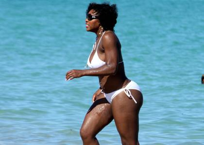 Serena Williams in a White Bikini