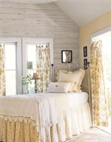 Charming bedrooms - Small Country Chic Kitchen Curtains
