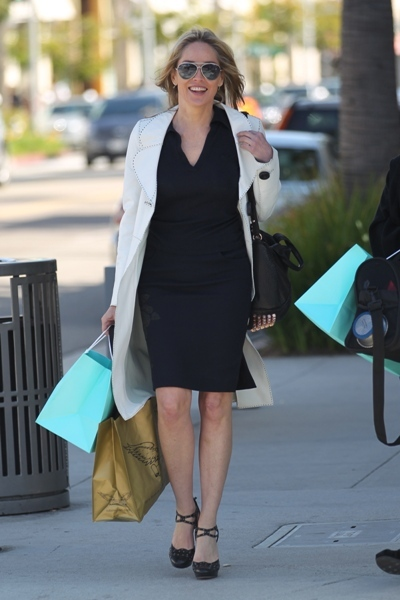 Sharon Stone shopping in Beverly Hills