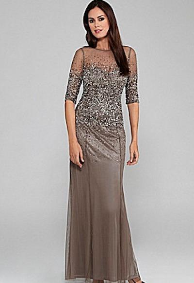 Beaded sheer-sleeve gown