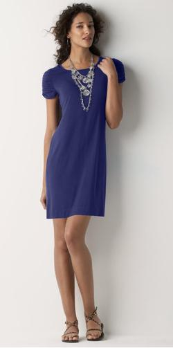 Shirred Sleeve Scoopneck Dress