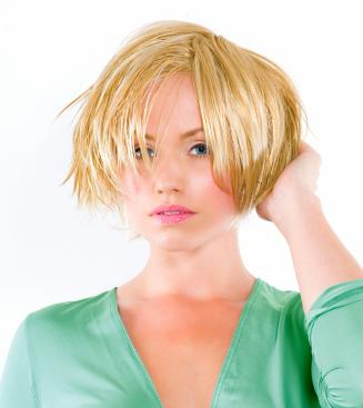 Short Blonde Layered Bob. This messy, short, layered bob haircut is undercut