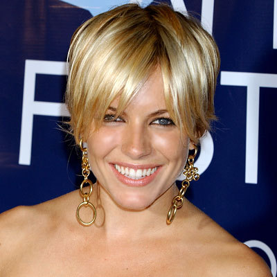 Sienna Miller's short layered hairstyle