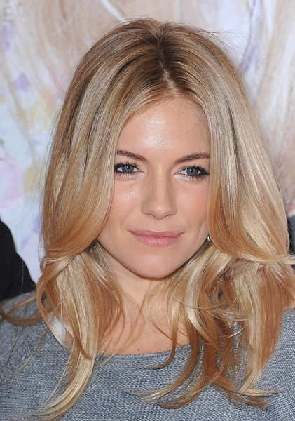 Sienna Miller's long layered hairstyle