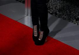 Christina Appelgate's pin striped heels