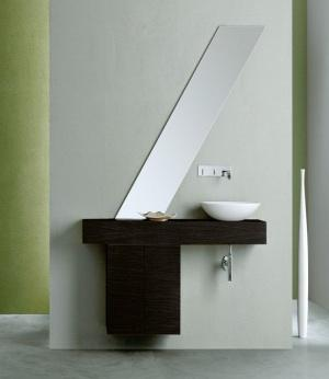 Minimalist bathroom with modern mirror