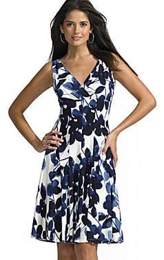 Sleeveless Dress-Cream/Navy Floral