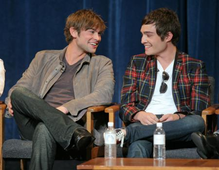 Chase Crawford and Ed Westwick smile at Paleyfest