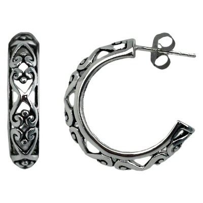 Sterling silver cut-out hoop