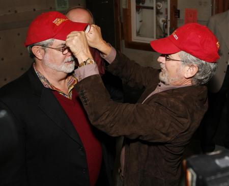 Steven Spielberg and George Lucas at ground breaking at USC