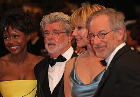 Steven Spielberg and George Lucas at the premiere for Indiana Jones.