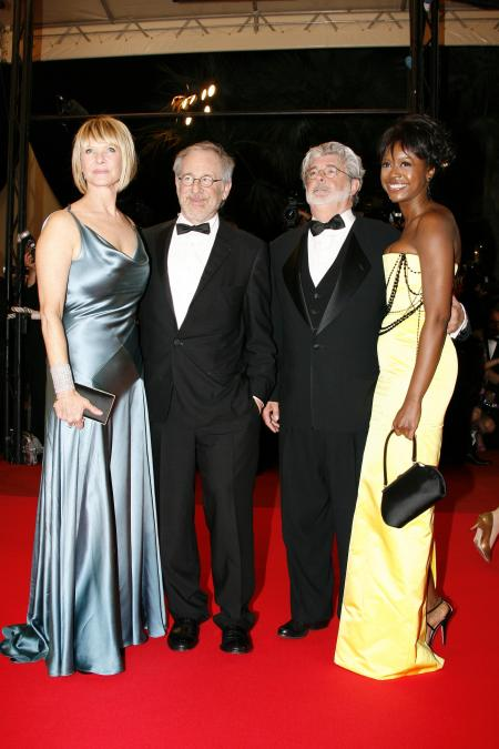 Steven Spielberg and George Lucas wear tuxedos at the Indiana Jones premiere.