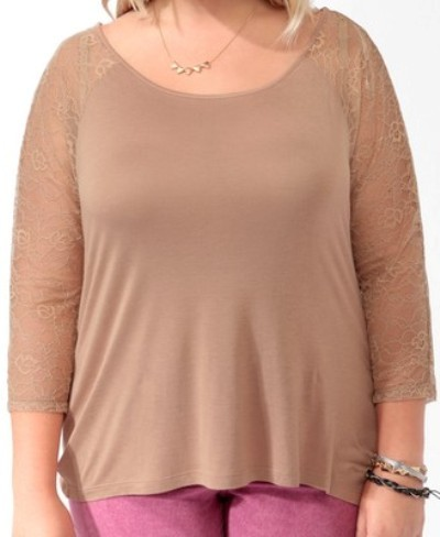 Forever 21 Lace Raglan Top