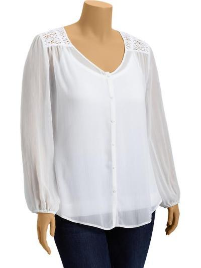 Old Navy Chiffon Lace Trim Blouse 