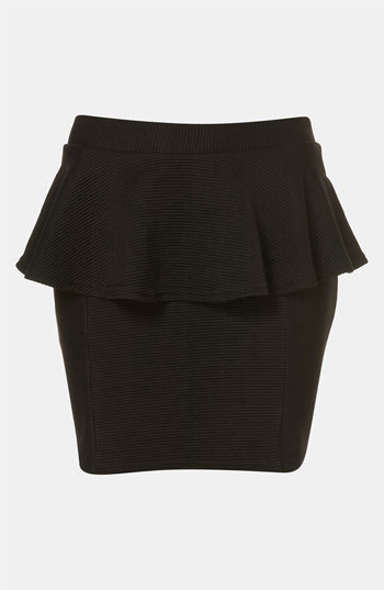Topshop Ribbed peplum miniskirt