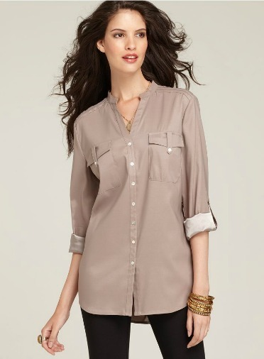 Tab sleeve button up tunic