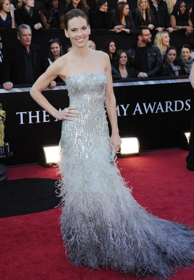 Hilary Swank in metallic gown