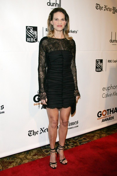 Hilary Swank in LBD and stilettos