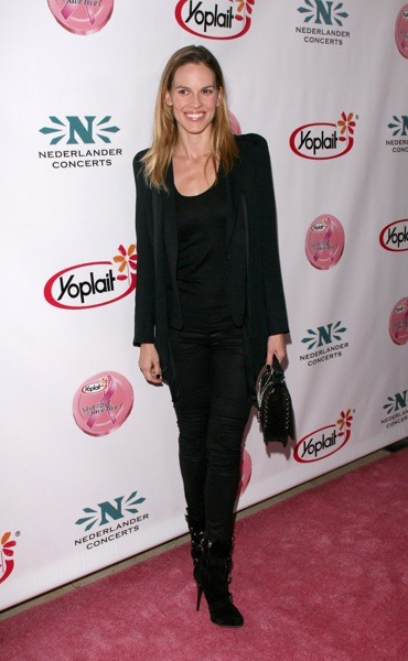 Hilary Swank in suede boots