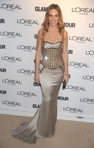 Hilary Swank in silver gown