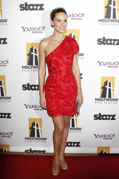 Hilary Swank in red dress
