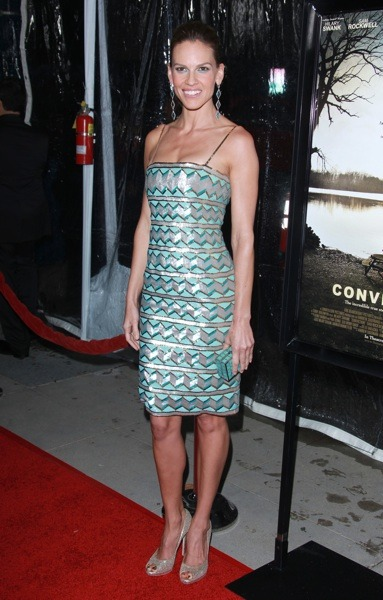 Hilary Swank in geometric stripe dress