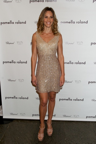 Hilary Swank in gold beaded dress