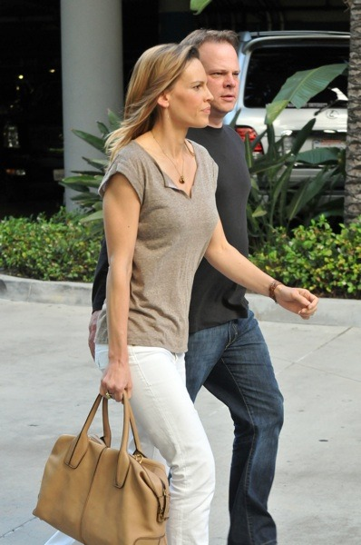 Hilary Swank in white jeans