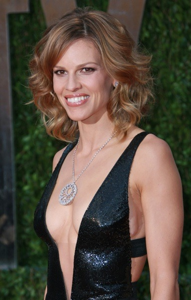 Hilary Swank with soft curls
