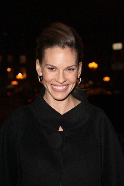 Hilary Swank in pulled back up-do