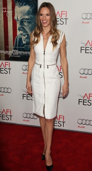 Hilary Swank with zippered detail