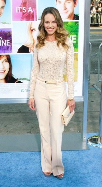 Hilary Swank in neutral colors