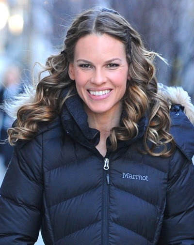 Hilary Swank in puffy coat