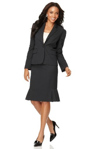Pinstriped pleated skirt with long sleeve jacket