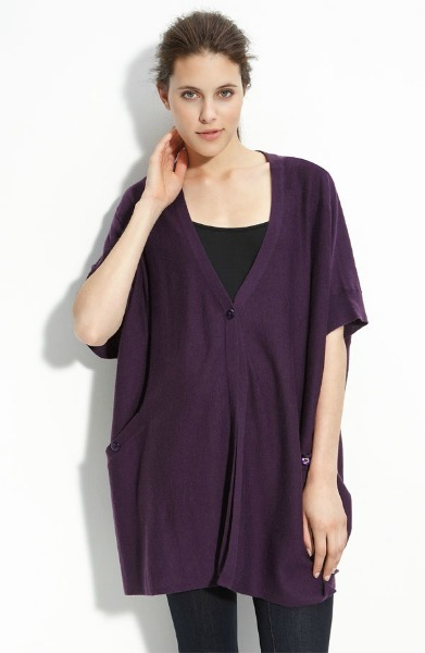 Plum Knit Button Poncho
