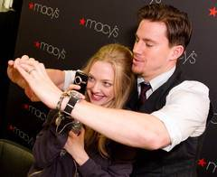 Channing Tatum and Amanda Seyfried goof around at a press event