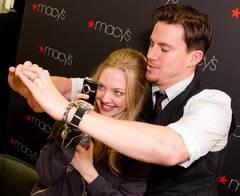Channing Tatum and Amanda Seyfried goof around at a press event