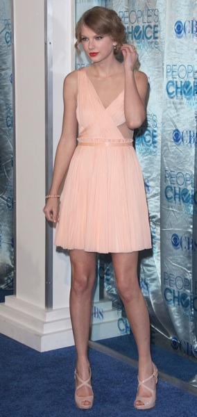 Taylor Swift with cut outs in her dress