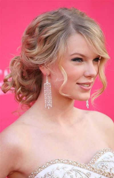 Taylor Swift's Curly Hair Pulled Back