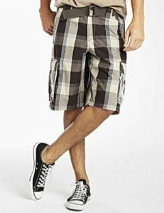Guy's plaid cargo shorts