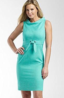 Textured Roll-Neck Sundress-Turquoise