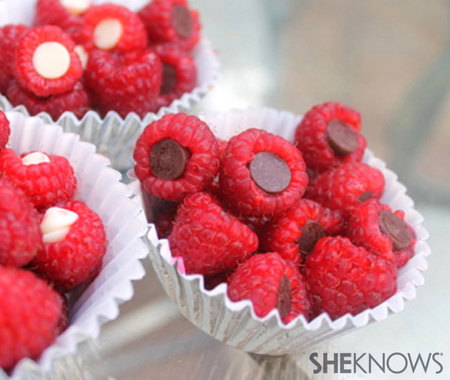 Chocolate-stuffed raspberries