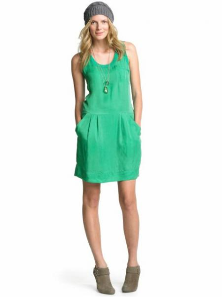 Three-pocket drawstring dress